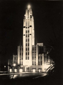 Bullocks Wilshire exterior at night